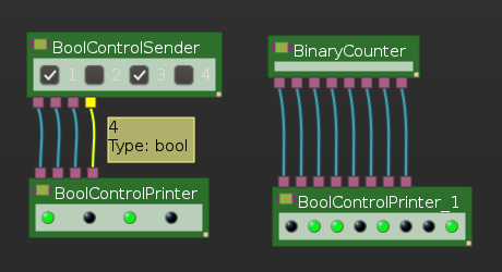 BinaryCounter, BoolControlDisplay and BoolControlSender