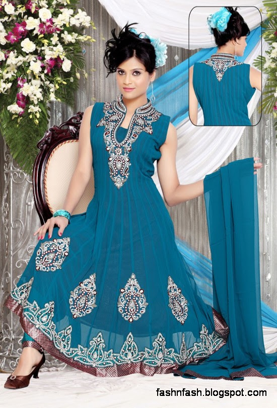 Anarkali Fancy Pishwas Frocks-Anarkali Double Shirt Style Frock New Fashion Dress Designs 2013-