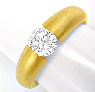 Original-Foto 1, BRILLANT-SPANN-RING 1,10ct 18K EXTRA-MASSIV SCHMUCK NEU