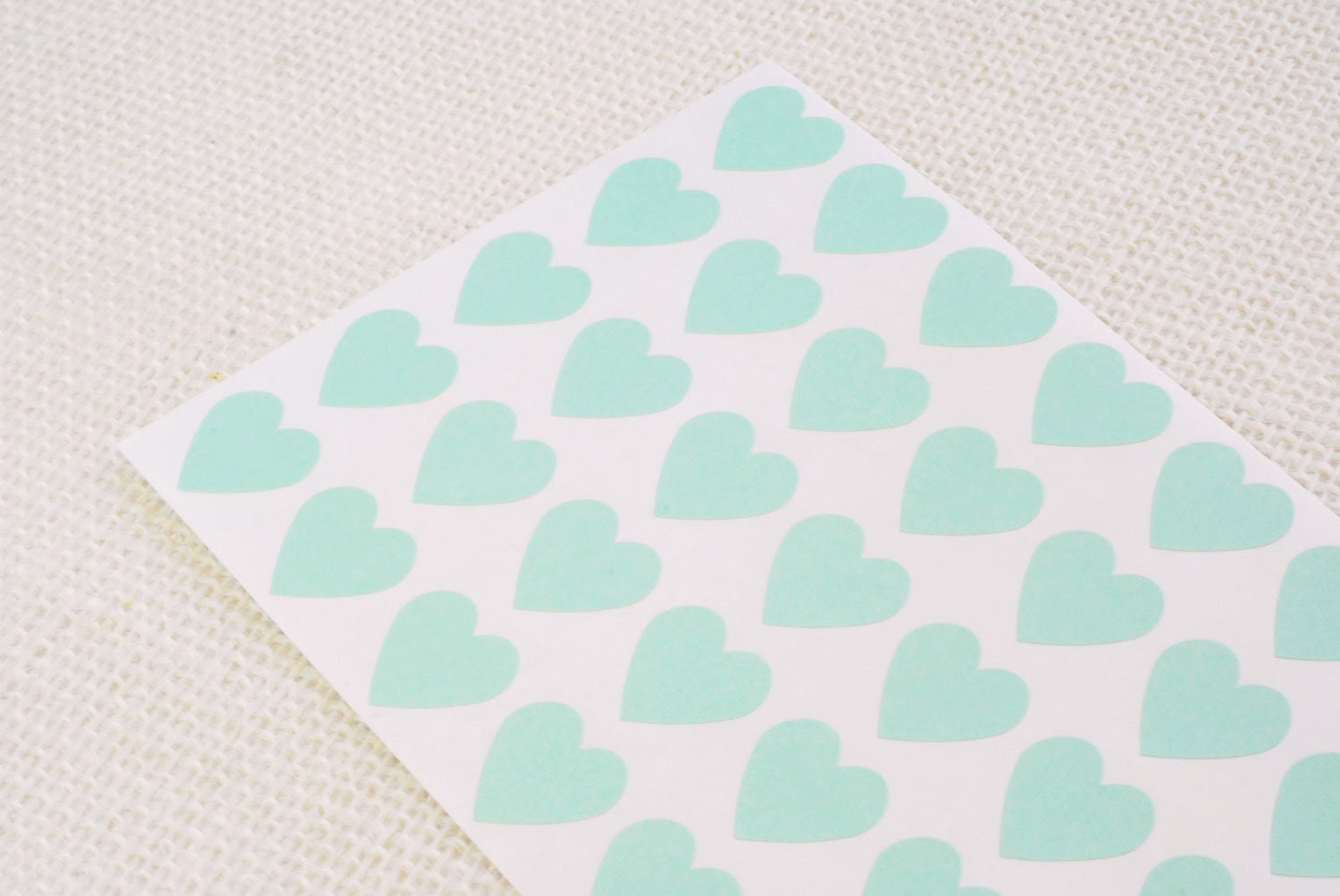 """Mint Green Heart Stickers 3/4"""" - Free Shipping / Pack of 82 / Envelope Seals / Wedding Seals / Wedding Invitation Seals / Heart Labels"""