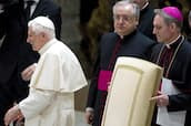 Pope makes first public apperance since resignation, gets standing ovation