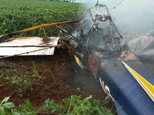Avião agrícola cai e deixa os dois ocupantes mortos em Goiás, diz polícia (Foto: Divulgação/Polícia Civil)