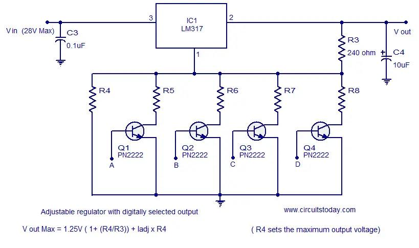 adjustable regulator digitally selectable output