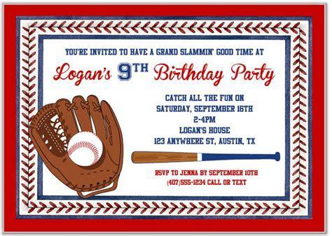 Baseball Birthday Party Invitations   Baseball   Sports