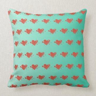 Mint Green Pillow w/ Cute Hearts