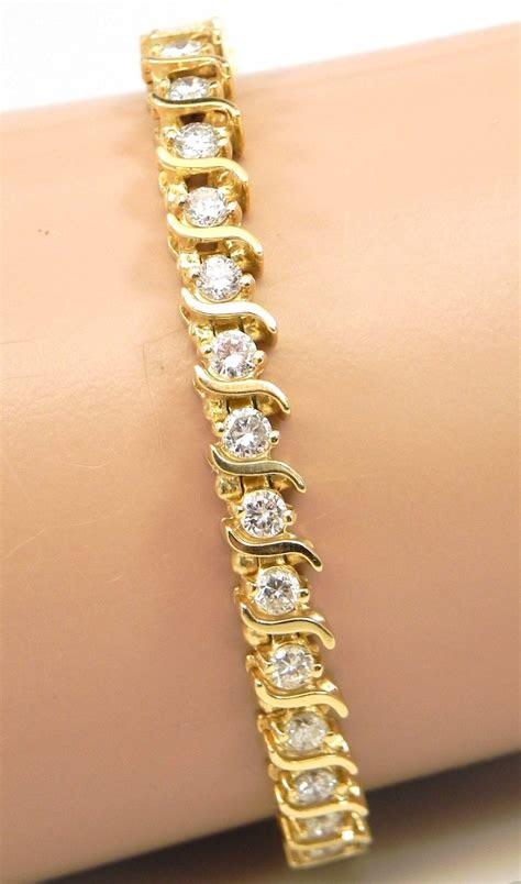 ladies  yellow gold  cts diamonds  tennis