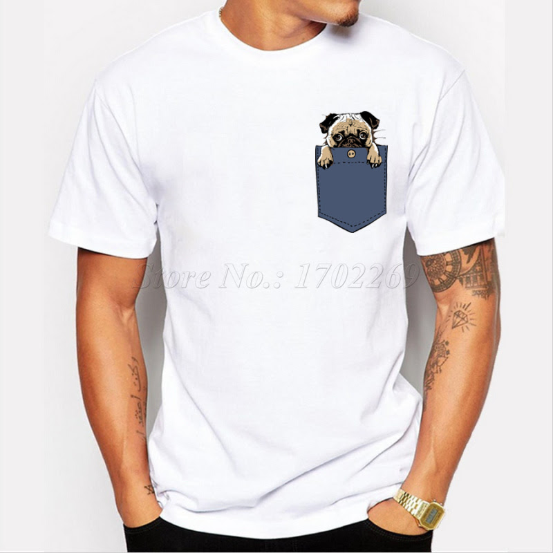 Newest Pugturday Men T Shirt Pug In Pocket Design Male Funny Tops