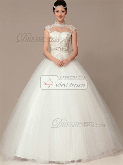 Ball Gown High Neck Lace Wedding Dress   Fashion Tips