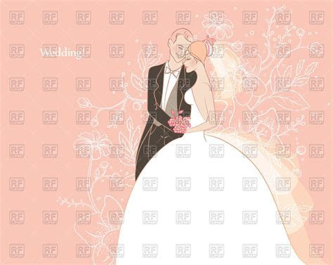 Wedding card with happy bride and groom Vector Image of