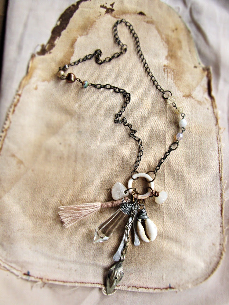 Asterion - assemblage cluster charm necklace - tribal sci-fi