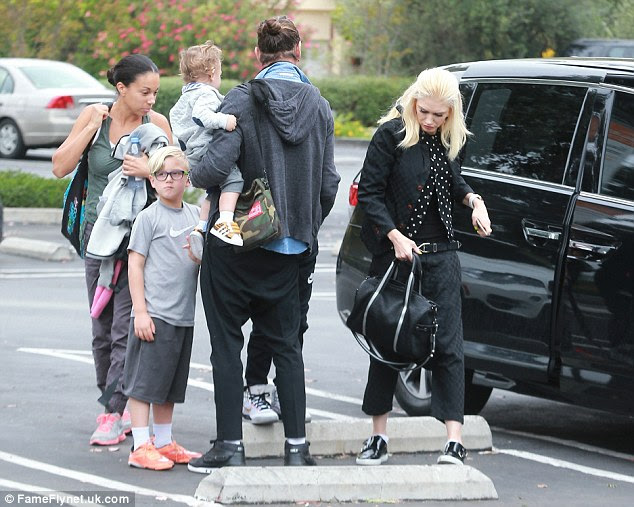 Stylish: The No Doubt front woman wore a black and white polka-dot shirt to brunch with her family in Los Angeles