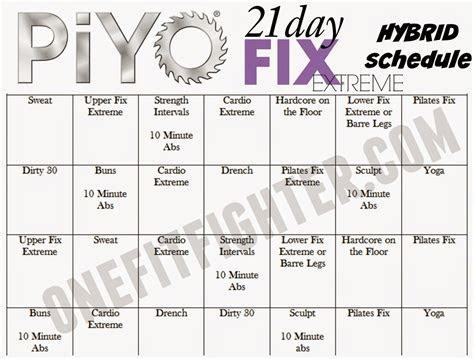 piyo fix hybrid schedule fix  piyo hybrid beachbody