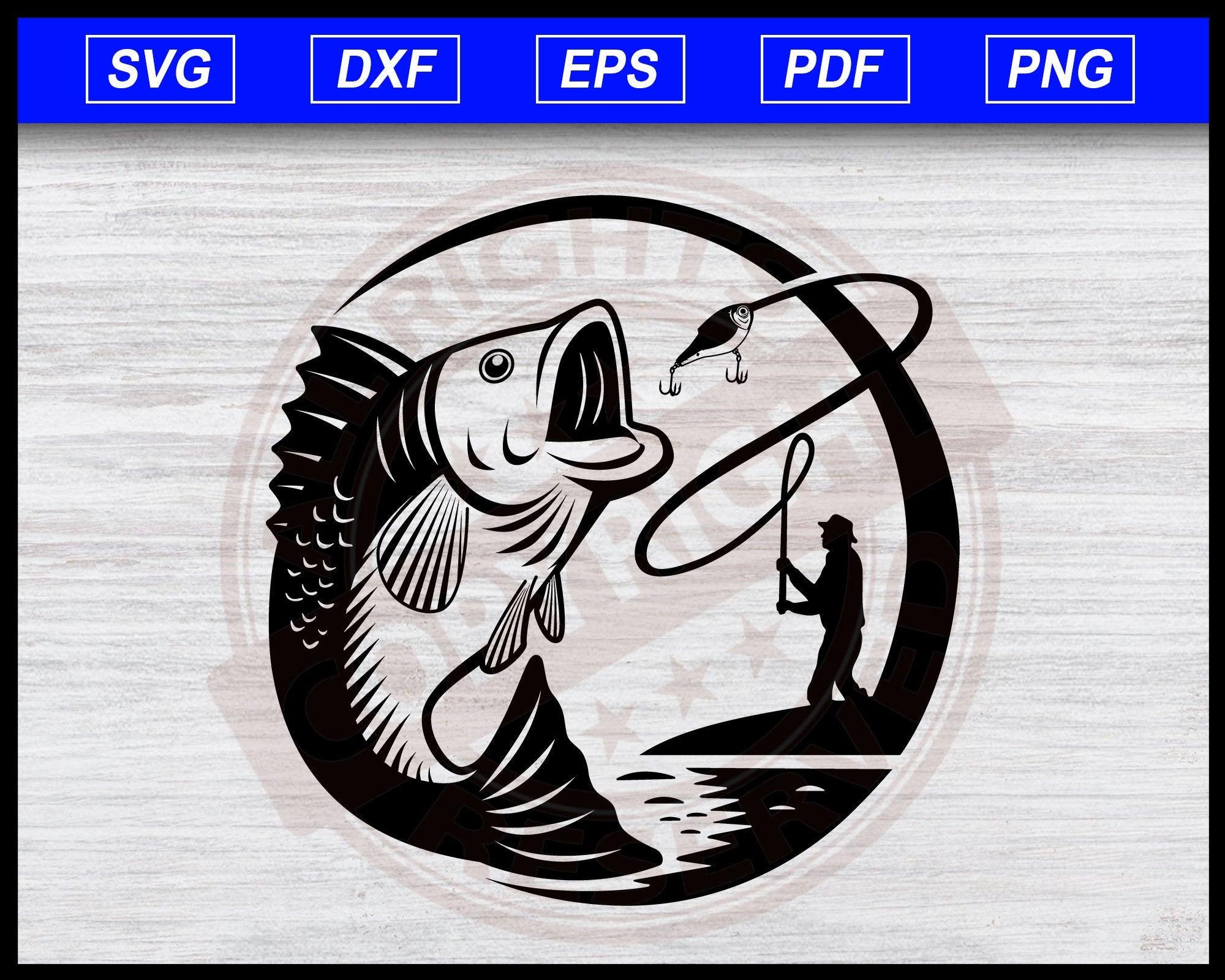 Download Bass Jumping Svg Angler Fishing Bass Fishing Clipart Fisherman Catching Fish Svg Cricut Cut Files Silhouette Editable Svg File