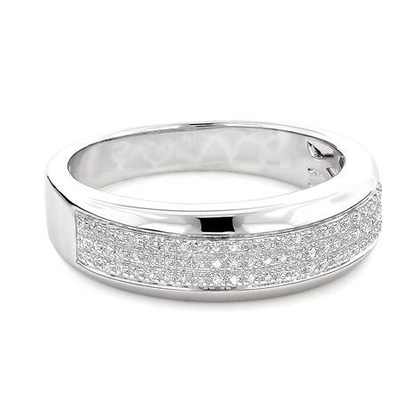 Sterling Silver Wedding Bands: Mens Diamond Ring 0.18ct
