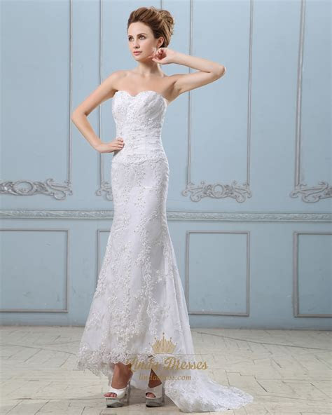 White Sweetheart Strapless Lace Mermaid Wedding Dress With
