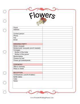 The Wedding Planner Flowers worksheet has plenty of space