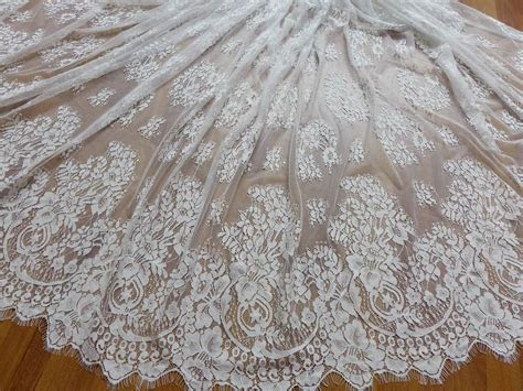Vintage Chantilly Eyelash Fabric in White for Wedding gown