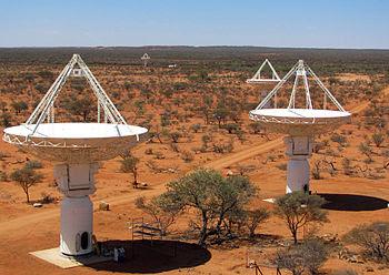 English: CSIRO's ASKAP antennas at the Murchis...