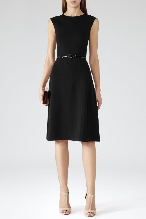 REISS Alana Structured Fit and Flare Dress