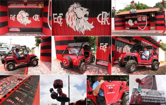 Mosaico Valdecy Xisto, torcedor do Flamengo-PI e Flamengo (Foto: Abdias Bideh/GloboEsporte.com)