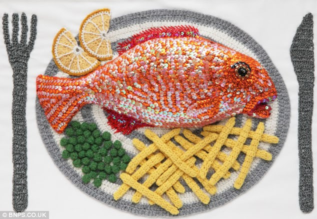 Knits and chips: A fully knitted dinner, complete with peas and sequins