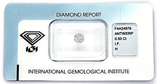 Foto 1, Diamant 0,50ct Brillant IGI, Lupenrein Wesselton Juwel!, D5838