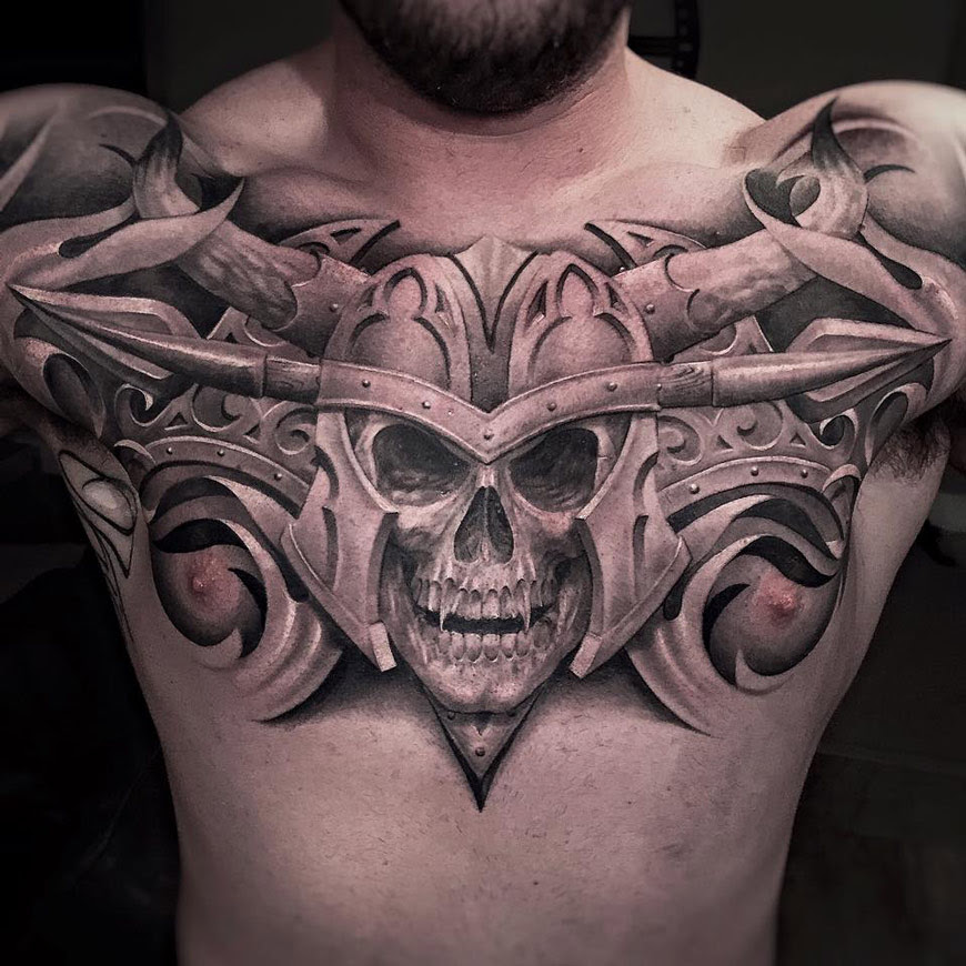 Vampire Skull On Guys Chest Best Tattoo Design Ideas