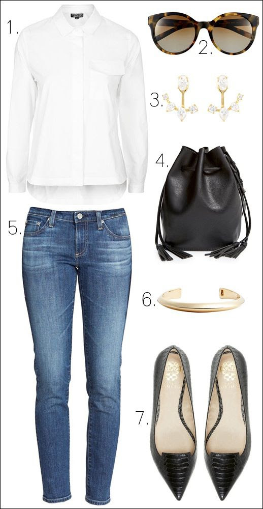 Le Fashion Blog Nordstrom Anniversary Sale 2015 Polished Casual Chic Look Classic Basics White Shirt Ear Jackets Bucket Bag Jeans Pointy Toe Flats Outfit Collage