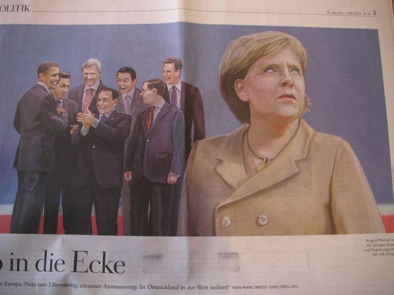 痛いニュースノ G8でぼっちになったあの首相を報じる独のイラスト