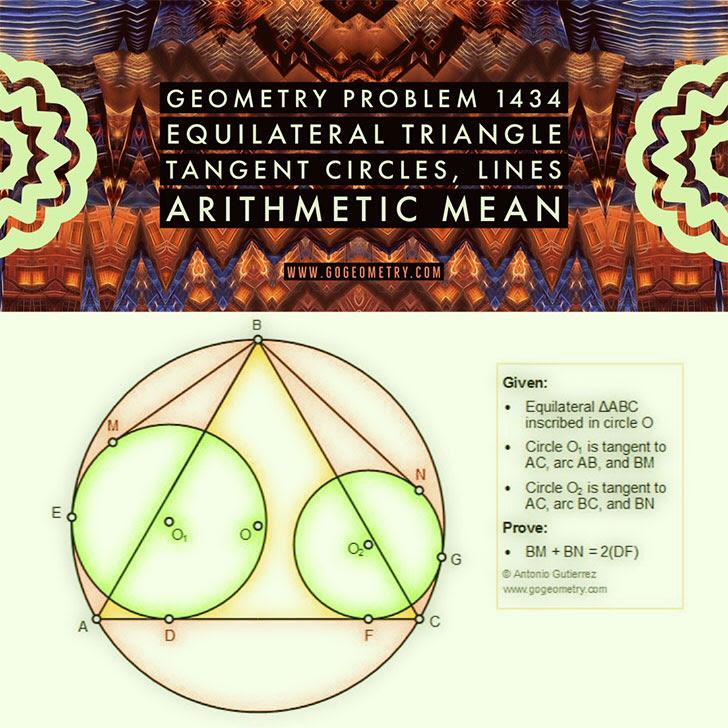 Problema de Geometría 1434 Triangulo Equilatero, Circunferencias Tangentes, Recta Tangente a una Circunferencia, Media Aritmetica, Medida, iPad, Apps, poster, tipografia. Ingles ESL, English.