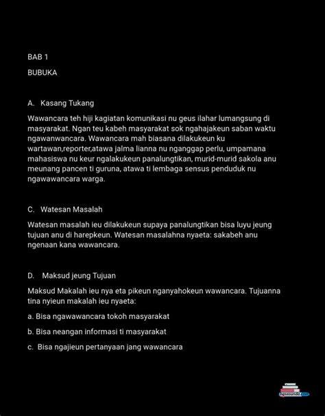 Contoh gambar susunan makalah hasil wawancara bahasa sunda