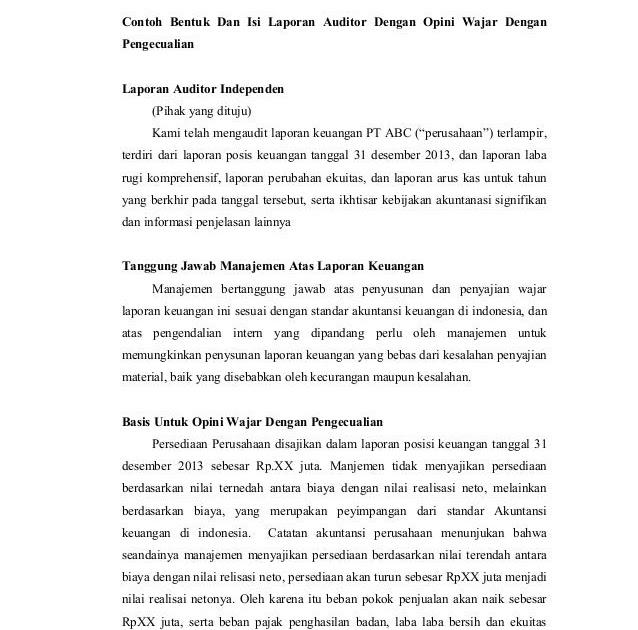 contoh laporan keuangan wajar dengan pengecualian contoh sul