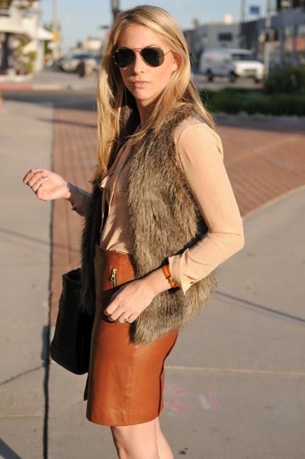 Fur vest, Tan leather skirt
