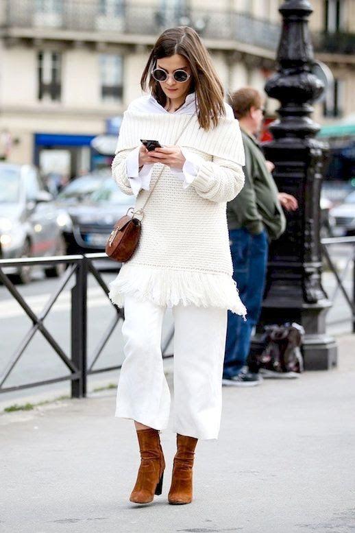 Le Fashion Blog Street Style Pfw White Off The Shoulder Sweater With Fringed Hem Button Down Shirt Chloe Bag Culottes Brown Suede Boots Via Refinery29