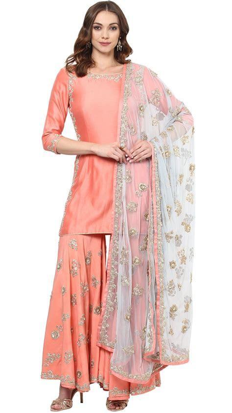 Coral & Blue Sharara Set   Indian Fashion Websites