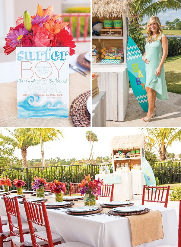 Theres A Baby On Board Surfing Themed Baby Shower Hostess With