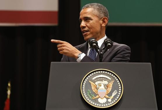U.S. President Barack Obama delivers a speech at Siri Fort Auditorium in New Delhi January 27, 2015. REUTERS-Jim Bourg