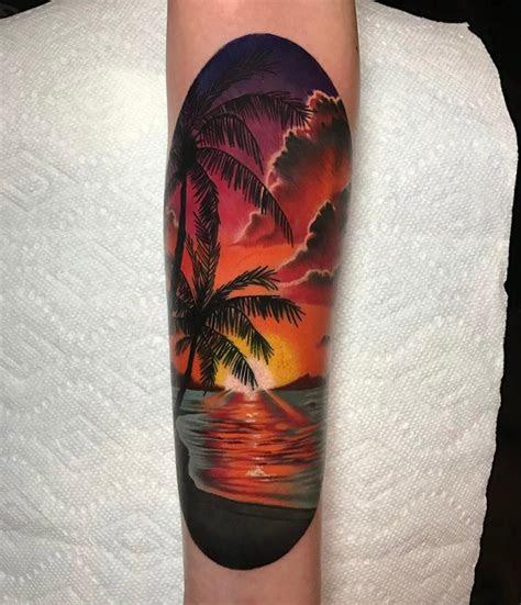 sunset beach scene sunset tattoos sun tattoos sleeve