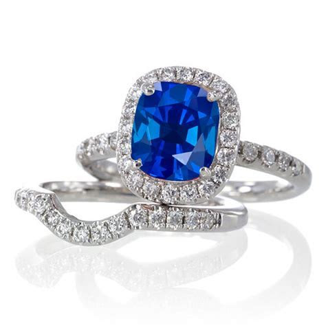 2 Carat Unique Sapphire and diamond Bridal Ring Set on 10k