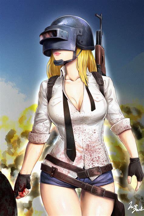 pubg player girl ready  fight  pan  gun mobile