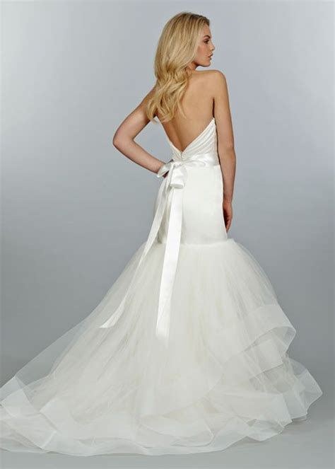Ivory satin fit to flare bridal gown, pleated elongated