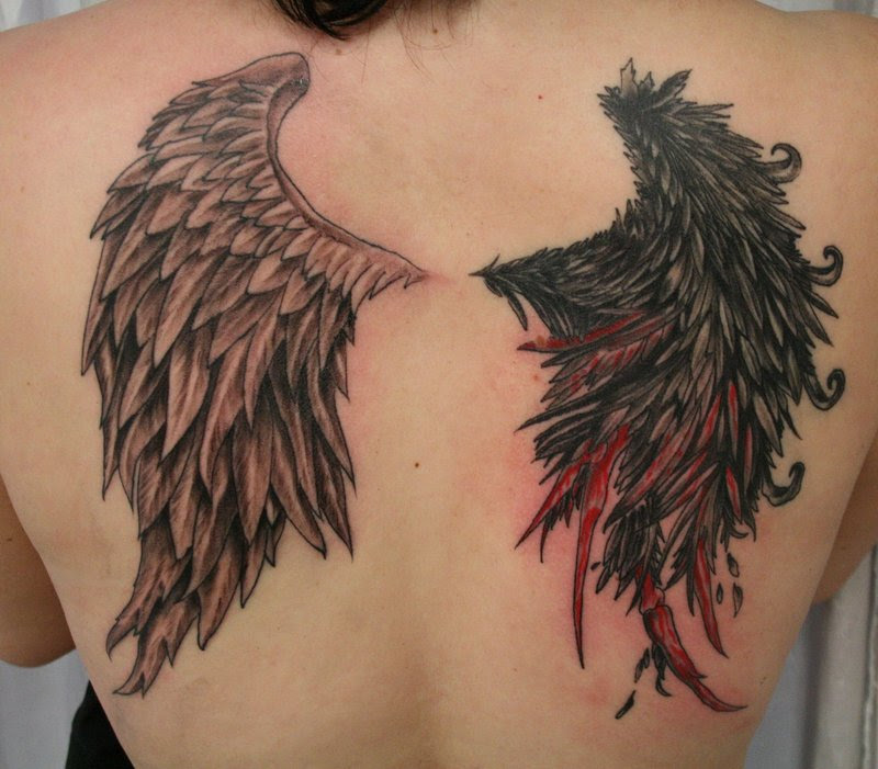 Angel And Devil Wings Tattoo Design