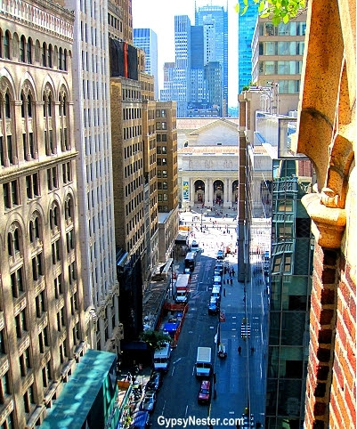 Looking down 41st Street toward the New York Public Library from the rooftop garden of the Library Hotel