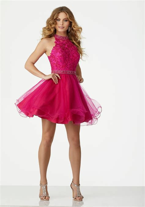 Lace and Tulle Cocktail Dress with Beaded Details and a