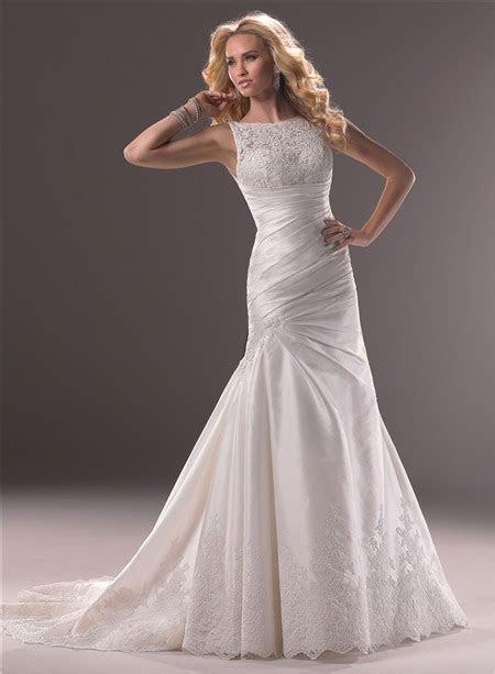 A Line Bateau Neck Taffeta Lace Wedding Dress With Low Back
