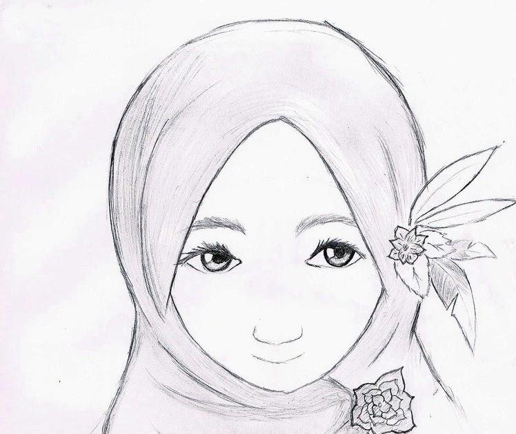 154 Sketsa Gambar Wanita Berjilbab Gudangsket