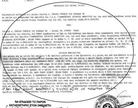 Ρόδος: Απειλούν άνεργο με κατάσχεση για χρέος 290€ - Φωτό!