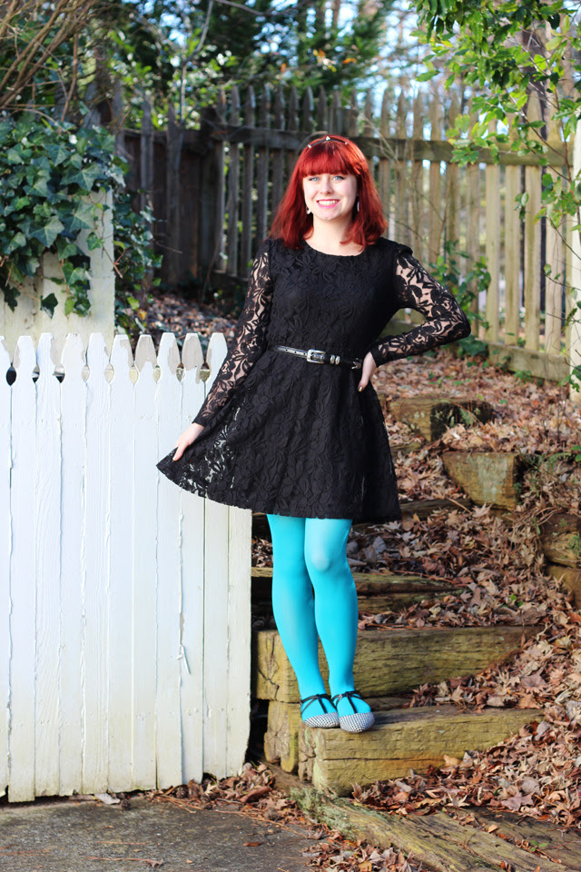 Black Lace Dress, Neon Blue Tights, Houndstooth Flats, Spiky Headband