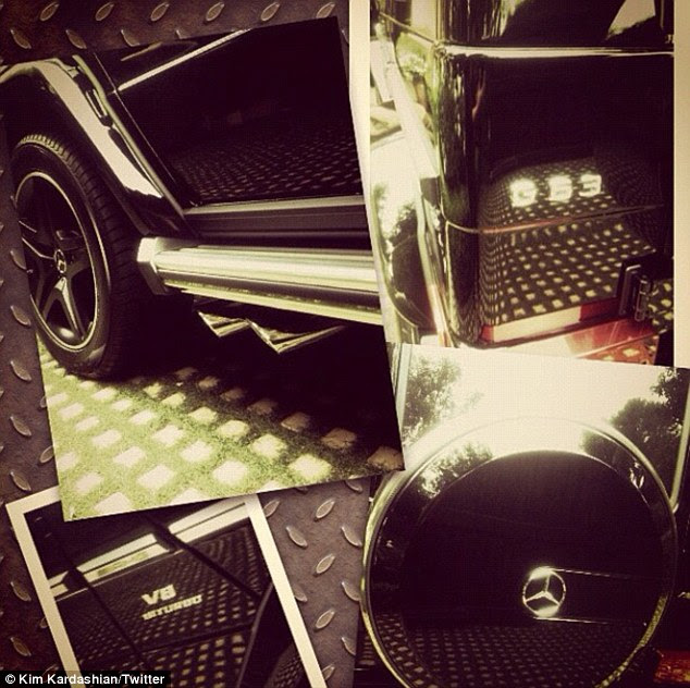 My new toy! Kim Kardashian tweeted this picture of her factory fresh $150,000 Mercedes G63, bragging that she got 'the first one'