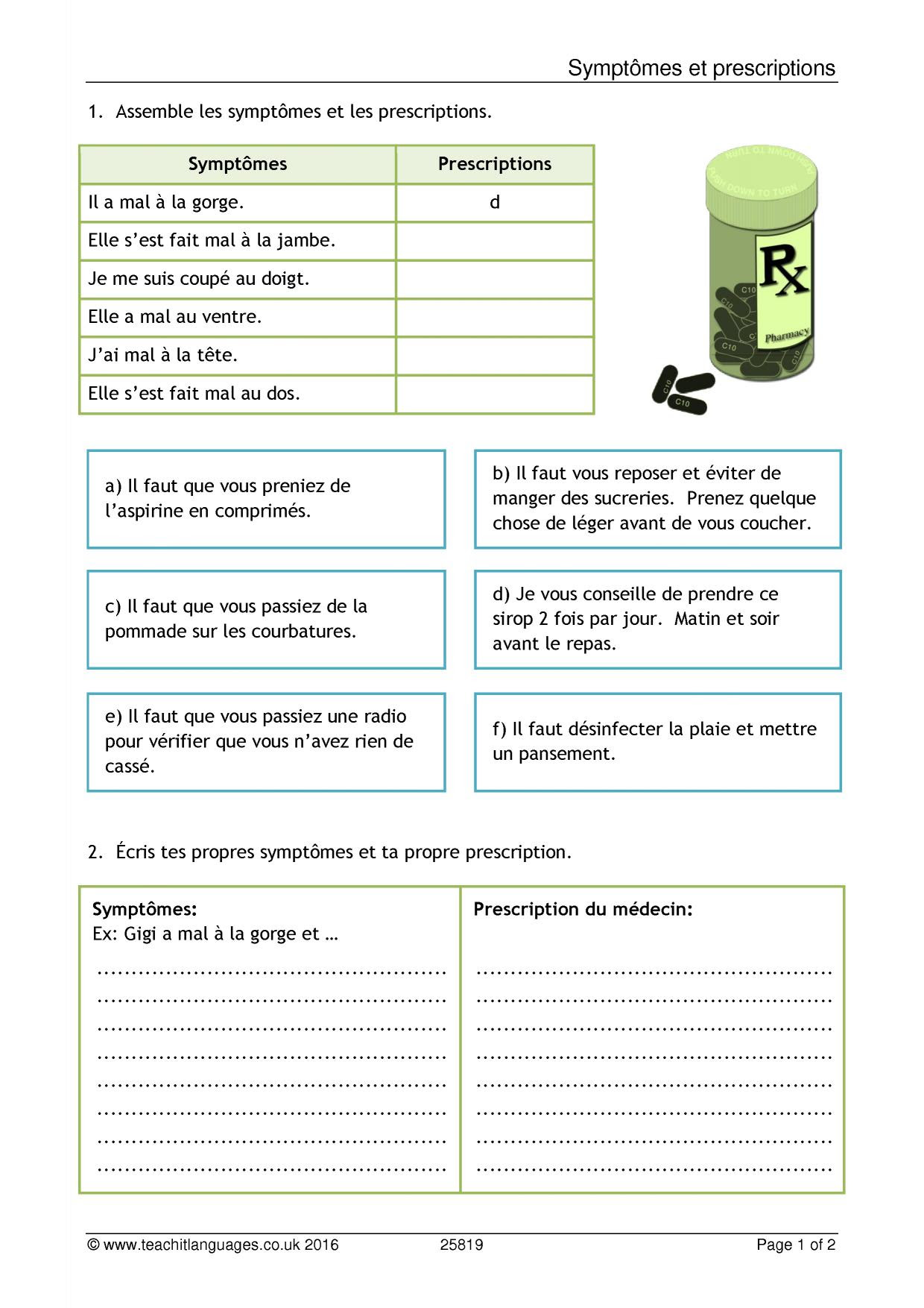 Teachit Languages French Teaching Resources Printable